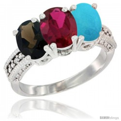 14K White Gold Natural Smoky Topaz, Ruby & Turquoise Ring 3-Stone 7x5 mm Oval Diamond Accent