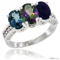 10K White Gold Natural London Blue Topaz, Mystic Topaz & Lapis Ring 3-Stone Oval 7x5 mm Diamond Accent