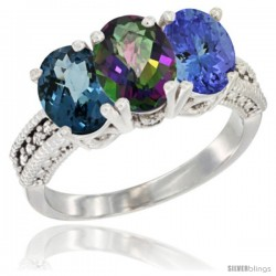 10K White Gold Natural London Blue Topaz, Mystic Topaz & Tanzanite Ring 3-Stone Oval 7x5 mm Diamond Accent