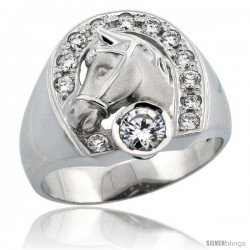 Sterling Silver Men's Horseshoe & Head Ring Brilliant Cut CZ Stones, 3/4 in (17.5 mm) wide