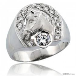 Sterling Silver Men's Horseshoe & Head Ring Brilliant Cut CZ Stones, 3/4 in (17.5 mm) wide