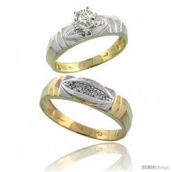 10k Yellow Gold 2-Piece Diamond wedding Engagement Ring Set for Him & Her, 5mm & 6mm wide -Style Ljy121em