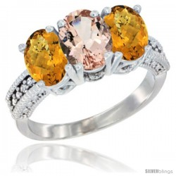 14K White Gold Natural Morganite Ring with Whisky Quartz 3-Stone 7x5 mm Oval Diamond Accent
