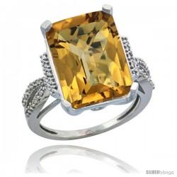 14k White Gold Diamond Whisky Quartz Ring 12 ct Emerald Shape 16x12 Stone 3/4 in wide