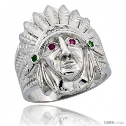 Sterling Silver Men's Indian Chief Head Ring Brilliant Cut CZ Stones, 1 in (24 mm) wide