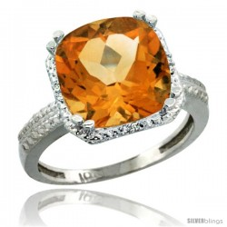 10k White Gold Diamond Citrine Ring 5.94 ct Checkerboard Cushion 11 mm Stone 1/2 in wide