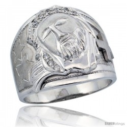 Sterling Silver Men's Jesus Christ Ring Brilliant Cut CZ Stones, 3/4 in (20 mm) wide