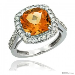 10k White Gold Diamond Halo Citrine Ring Checkerboard Cushion 9 mm 2.4 ct 1/2 in wide