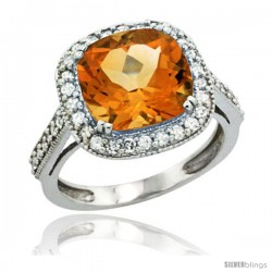 10k White Gold Diamond Halo Citrine Ring Cushion Shape 10 mm 4.5 ct 1/2 in wide