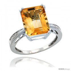10k White Gold Diamond Citrine Ring 5.83 ct Emerald Shape 12x10 Stone 1/2 in wide -Style Cw909149