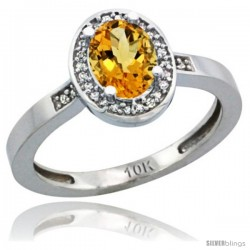 10k White Gold Diamond Citrine Ring 1 ct 7x5 Stone 1/2 in wide