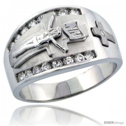 Sterling Silver Men's Jesus Christ on Crucifix Ring Brilliant Cut CZ Stones, 1/2 in (14 mm) wide
