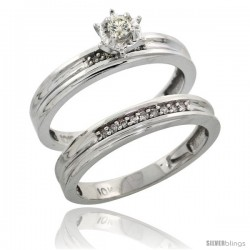 Sterling Silver 2-Piece Diamond Engagement Ring Set, w/ 0.09 Carat Brilliant Cut Diamonds, 1/8 in. (3.5mm) wide -Style Ag120e2