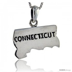 Sterling Silver Connecticut State Map Pendant, 1 in tall
