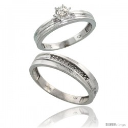 Sterling Silver 2-Piece Diamond Ring Set ( Engagement Ring & Man's Wedding Band ), w/ 0.10 Carat Brilli -Style Ag120em