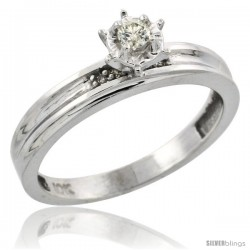 Sterling Silver Diamond Engagement Ring, w/ 0.06 Carat Brilliant Cut Diamonds, 1/8in. (3.5mm) wide -Style Ag120er