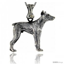 Sterling Silver Doberman Pinscher Dog Pendant