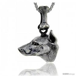 Sterling Silver Doberman Pinscher Dog Pendant -Style Pa1065