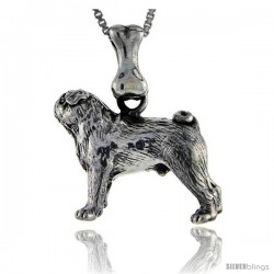 Sterling Silver Pug Dog Pendant