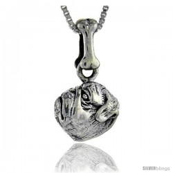 Sterling Silver Pug Dog Pendant -Style Pa1017