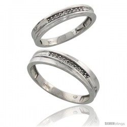 Sterling Silver 2-Piece His (5mm) & Hers (3.5mm) Diamond Wedding Band Set, w/ 0.07 Carat Brilliant Cut Diamonds