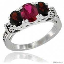 14K White Gold Natural High Quality Ruby & Garnet Ring 3-Stone Oval with Diamond Accent