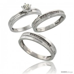 Sterling Silver 3-Piece Trio His (5mm) & Hers (3.5mm) Diamond Wedding Band Set, w/ 0.13 Carat Brilliant Cut Diamonds
