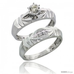 Sterling Silver 2-Piece Diamond Engagement Ring Set, w/ 0.06 Carat Brilliant Cut Diamonds, 3/16 in. (5mm) wide