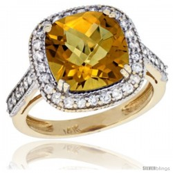 14k Yellow Gold Diamond Halo Amethyst Ring Cushion Shape 10 mm 4.5 ct 1/2 in wide -Style Cy426147