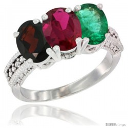 14K White Gold Natural Garnet, Ruby & Emerald Ring 3-Stone 7x5 mm Oval Diamond Accent