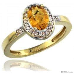 14k Yellow Gold Diamond Whisky Quartz Ring 1 ct 7x5 Stone 1/2 in wide
