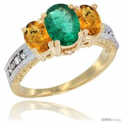 14k Yellow Gold Ladies Oval Natural Emerald 3-Stone Ring with Whisky Quartz Sides Diamond Accent