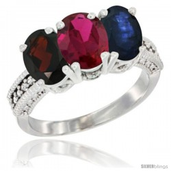 14K White Gold Natural Garnet, Ruby & Blue Sapphire Ring 3-Stone 7x5 mm Oval Diamond Accent