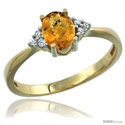 14k Yellow Gold Ladies Natural Whisky Quartz Ring oval 7x5 Stone Diamond Accent