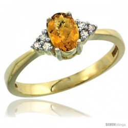 14k Yellow Gold Ladies Natural Whisky Quartz Ring oval 6x4 Stone Diamond Accent