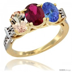 10K Yellow Gold Natural Morganite, Ruby & Tanzanite Ring 3-Stone Oval 7x5 mm Diamond Accent