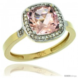 10k Yellow Gold Diamond Morganite Ring 2.08 ct Checkerboard Cushion 8mm Stone 1/2.08 in wide