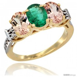 10K Yellow Gold Natural Emerald & Morganite Sides Ring 3-Stone Oval 7x5 mm Diamond Accent