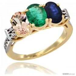 10K Yellow Gold Natural Morganite, Emerald & Blue Sapphire Ring 3-Stone Oval 7x5 mm Diamond Accent