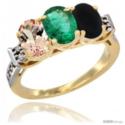10K Yellow Gold Natural Morganite, Emerald & Black Onyx Ring 3-Stone Oval 7x5 mm Diamond Accent