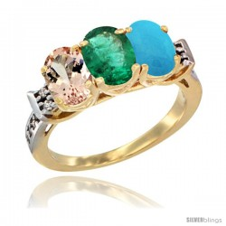 10K Yellow Gold Natural Morganite, Emerald & Turquoise Ring 3-Stone Oval 7x5 mm Diamond Accent