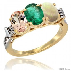 10K Yellow Gold Natural Morganite, Emerald & Opal Ring 3-Stone Oval 7x5 mm Diamond Accent