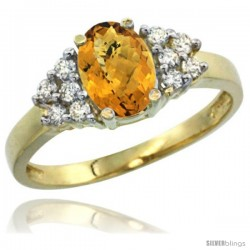 14k Yellow Gold Ladies Natural Whisky Quartz Ring oval 8x6 Stone Diamond Accent