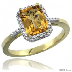 14k Yellow Gold Ladies Natural Whisky Quartz Ring Emerald-shape 8x6 Stone Diamond Accent