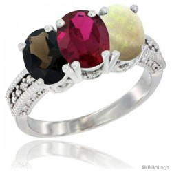 14K White Gold Natural Smoky Topaz, Ruby & Opal Ring 3-Stone 7x5 mm Oval Diamond Accent