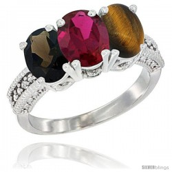 14K White Gold Natural Smoky Topaz, Ruby & Tiger Eye Ring 3-Stone 7x5 mm Oval Diamond Accent