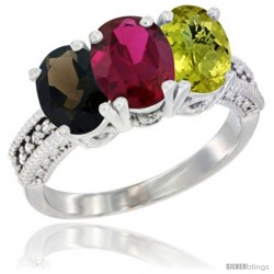 14K White Gold Natural Smoky Topaz, Ruby & Lemon Quartz Ring 3-Stone 7x5 mm Oval Diamond Accent