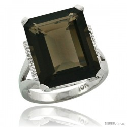 14k White Gold Diamond Smoky Topaz Ring 12 ct Emerald Cut 16x12 stone 3/4 in wide