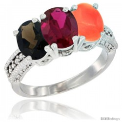 14K White Gold Natural Smoky Topaz, Ruby & Coral Ring 3-Stone 7x5 mm Oval Diamond Accent