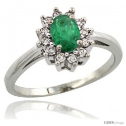 10k White Gold Emerald Diamond Halo Ring Oval Shape 1.2 Carat 6X4 mm, 1/2 in wide